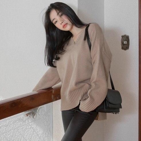 【WhiteFox] SA-9766パクピットVネックベーシックニットkorea fashion style free shipping
