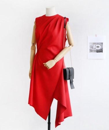 夏ガーリッシュドレープノースリーブワンピースバカンスルックリゾートルックゲストルック[30388]デイリールックkorea women fashion style