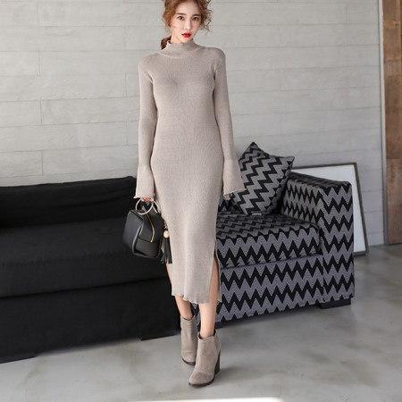 スリムフィット半ポーラひらきロングニットワンピースデイリールックkorea women fashion style