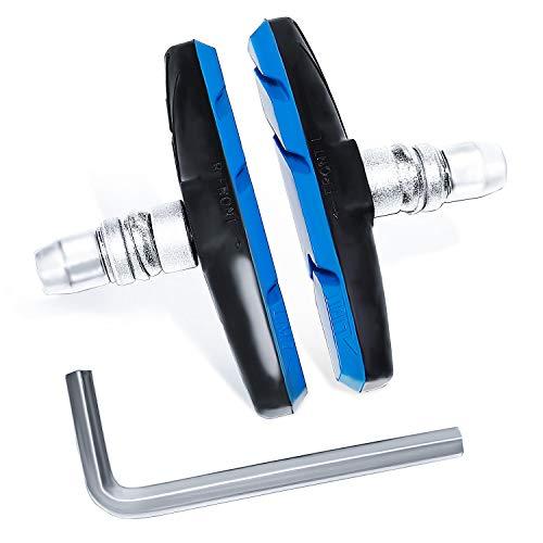 [SUCFORTS]自転車ブレーキシュー Vタイプ ブレーキパッド 全天候型 Vブレーキ 消音 耐久 マウンテンバイクロードバイク用 70mm 左右別設計 六角レンチ付き 2個・4個セット (青2個)