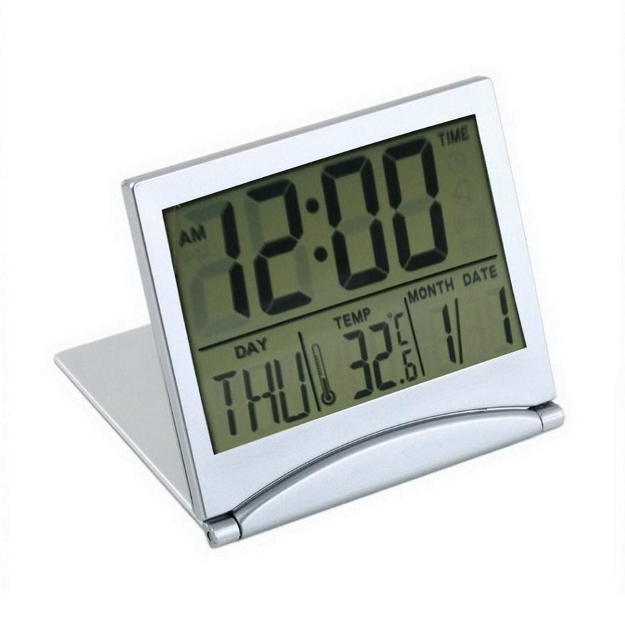 【送料無料】目覚まし時計 LCD 折りたたみ式 置き時計 旅行グッズ デジタル 小型 時計/アラーム/カレンダー/温度表示(白)