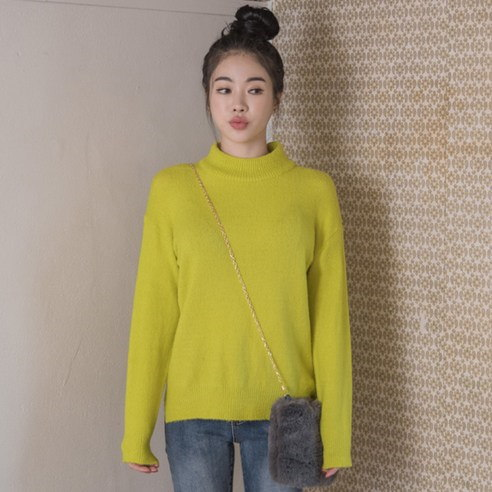 【WhiteFox]デイリー6色半ポーラニットkorea fashion style free shipping