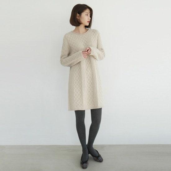 [デイリーマンデー] Twist knit midi one-piece /ワンピース ニット・ワンピース/ 韓国ファッション