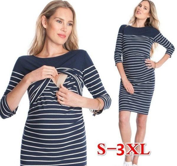 妊娠中の女性のための妊婦の服妊婦の妊娠中のストライプの授乳妊婦の妊娠Clothin