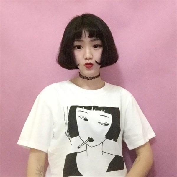 和風漫画プリントTシャツトップ半袖夏OネックTシャツ