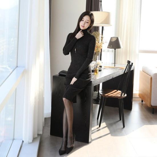 ココアベニューシャイニングポーラ・ロングワンピース71204 ニット・ワンピース/ 韓国ファッション