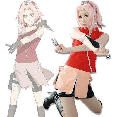 Naruto Shippuden Haruno Sakura Halloween Cosplay Costume battle skirt uniform