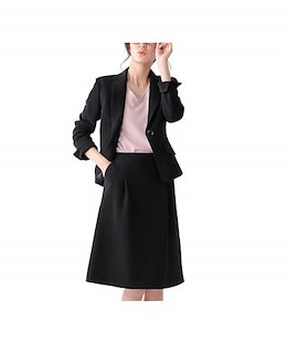 202f7cda7ab8f [nissen(ニッセン)] スカートスーツ 上下 セット (テーラードジャケット + タックフレア