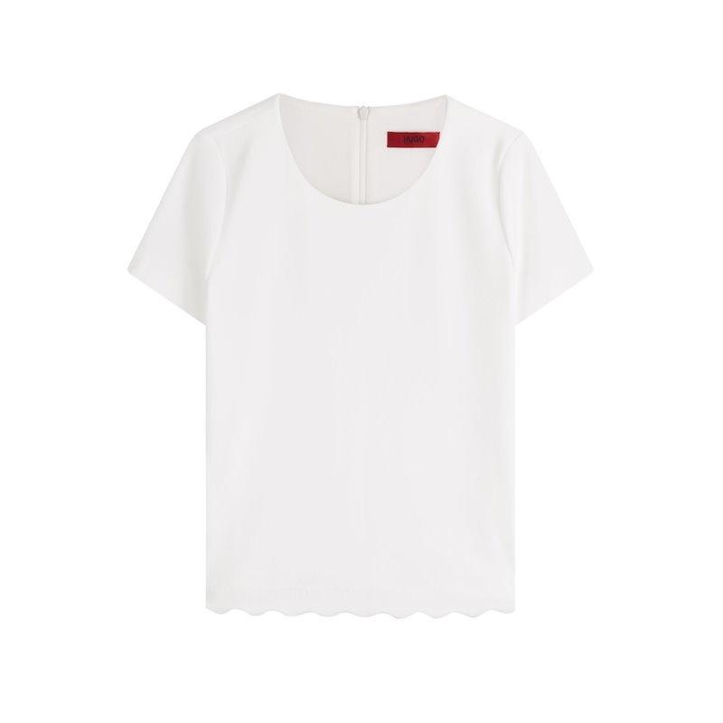ヒューゴ Hugo レディース トップス カジュアルシャツ【Top with Scalloped Hem】white