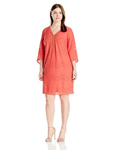 London Times Womens Plus-Size Chevron Mesh Knit Tunic with Lace Up Front, Coral, 16W