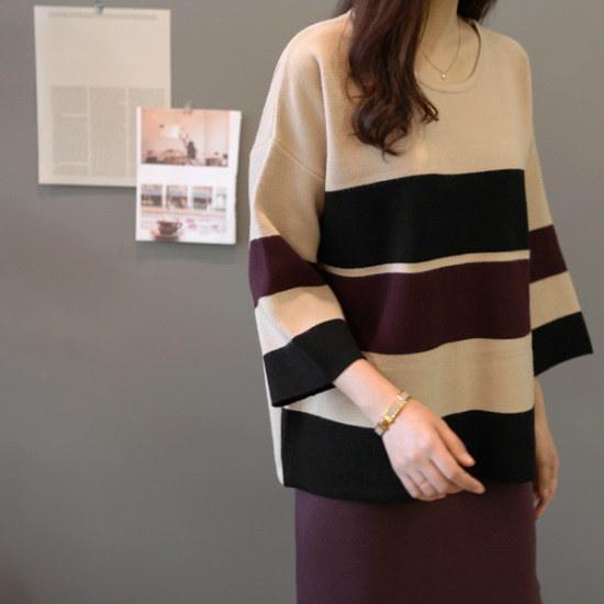 ガールズデイリーウェニジュ配色ニット ニット/セーター/ニット/韓国ファッション