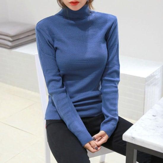 ピンクシスレースキンドゥゴルジポルラニトゥ ニット/セーター/タートルネック/ポーラーニット/韓国ファッション