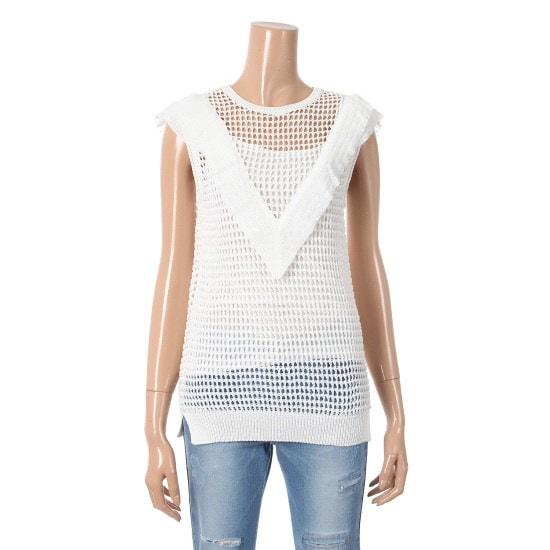 シシコレクトかわいいた袖なしフリルニット塔C172KSK036 ニット/セーター/韓国ファッション
