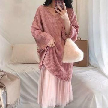 Vネック ニットトップス メッシュスカート ツーピースセット ガーゼ ドロップショルダー 長袖 ゆったりシルエット 大人可愛い キュート ピンク