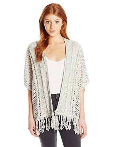 Silver Jeans Womens Short Sleeve Cardigan Open Sweater with Tassles, Beige, X-Large
