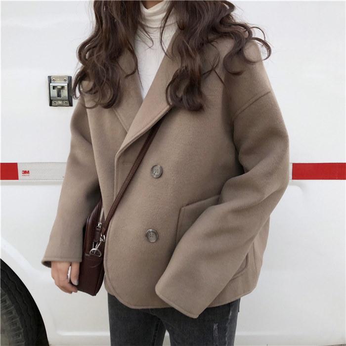 45678(韓国ファッション)可愛い♪レトロ 滑らかなライン襟付きウールジャケット