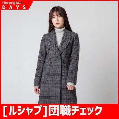 [ルシャプ]団職チェックコート(LIBHC563) /ハーフコート/コート/韓国ファッション