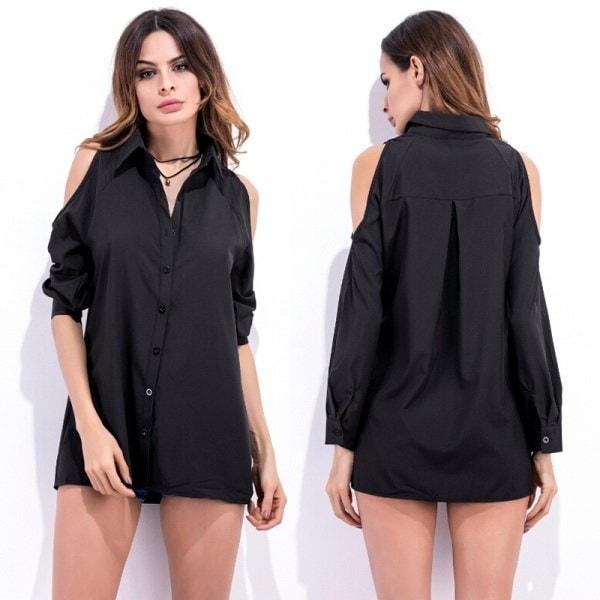 Women Summer Solid Color Cold Shoulder Long Sleeves Shirt Blouse Tops