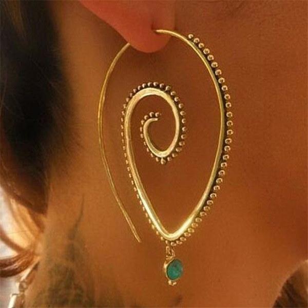 ヴィンテージダングルピアストレンディなパーソナリティスパイラルギア形状のスタッドピアス女性のための魅力的な宝石類
