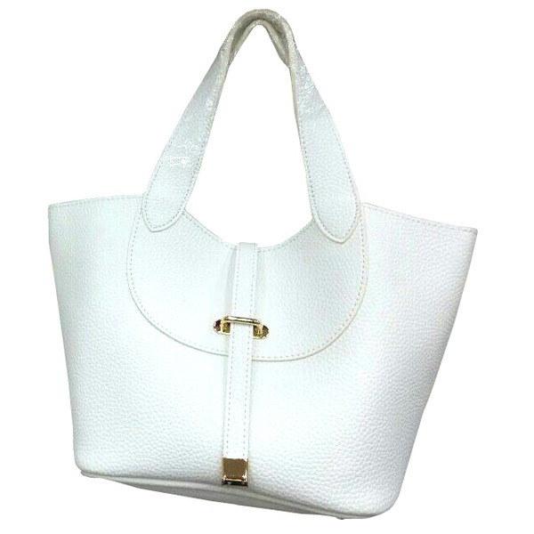 柔らか素材付♪大きく開閉する持ち手長めのシンプルハンドバッグ/アイボリー