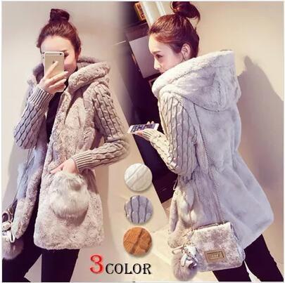 秋と冬服新しいファッション古典的なニットステッチぬいぐるみ厚いフード付きのジャケット