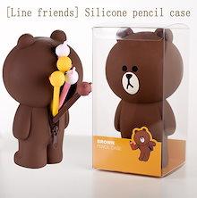 【Line Friends】韓国 ラインフレンズ ブラウン コニー ズスタンディングポーチ ペンケース 柔らかい シリコン standing pouch pen case 3種 195X108㎜