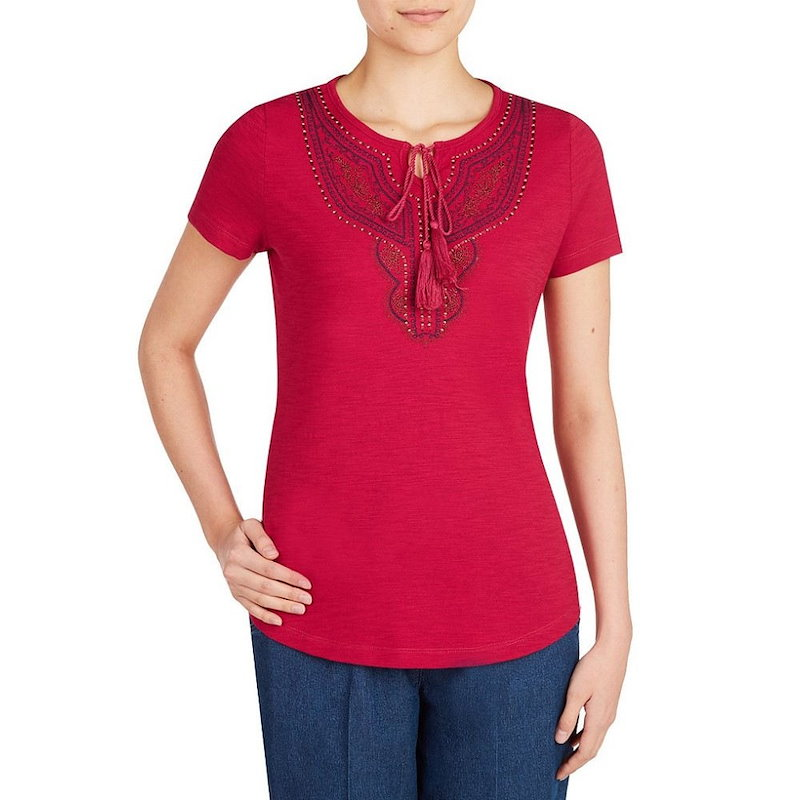 アリソン デイリー レディース トップス【Allison Daley Petites Embroidered Notch Neck Short Sleeve Knit Top】Berry