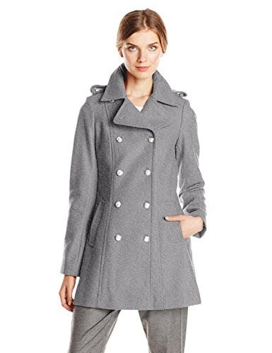 Via Spiga Womens Double Breasted Military Wool Coat with Silver Buttons, Medium Grey, 8