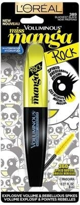 (ロレアルパリ マスカラ) L Oreal Paris Voluminous Miss Manga Rock Waterproof Mascara 389 Blackest Black (2-pack