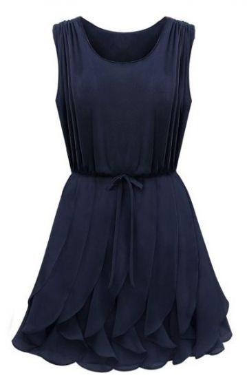 Navy Green Sleeveless Ruffles Pleated Chiffon Dress