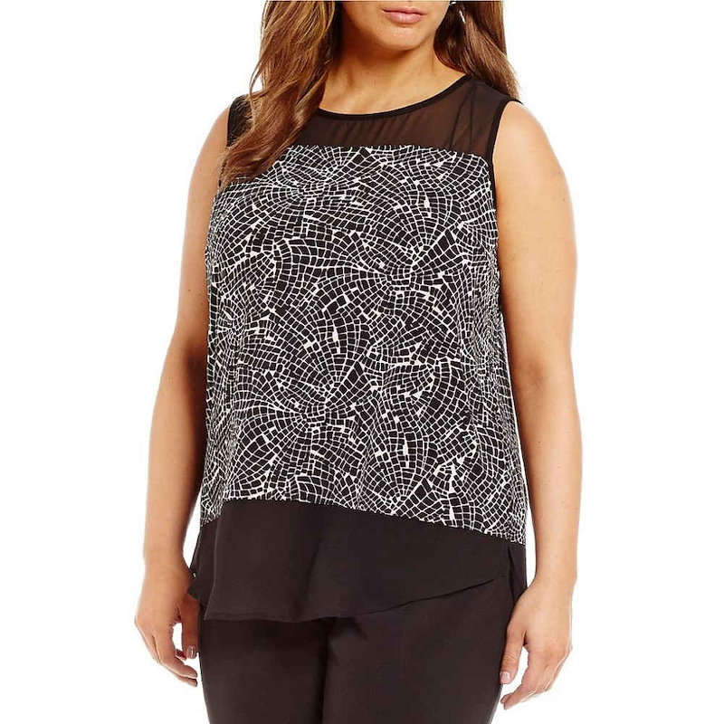 ヴィンス カムート レディース トップス【Vince Camuto Plus Modern Mosaic Mixed Media Top】Rich Black