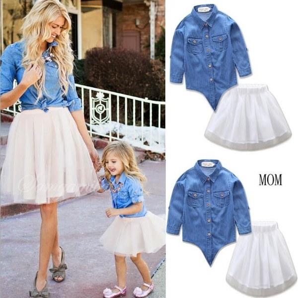 ファッション母親の娘のドレス女の子のママの服ファミリーマッチングの服0129