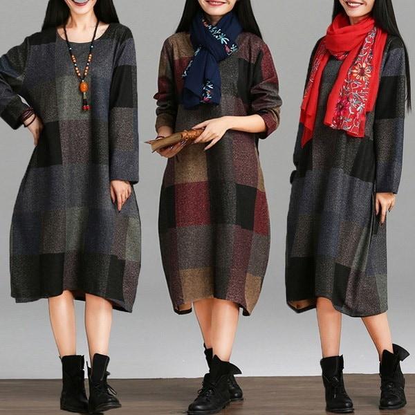 ZANZEAレトロレディースルーズチェックチェッククルーネックマキシレディースロングシャツドレス