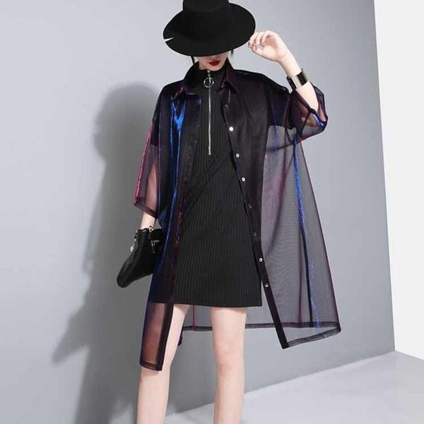 Women Holographic Laser Summer Jacket Hologram see through Transparent Shirt Iridescent Coat