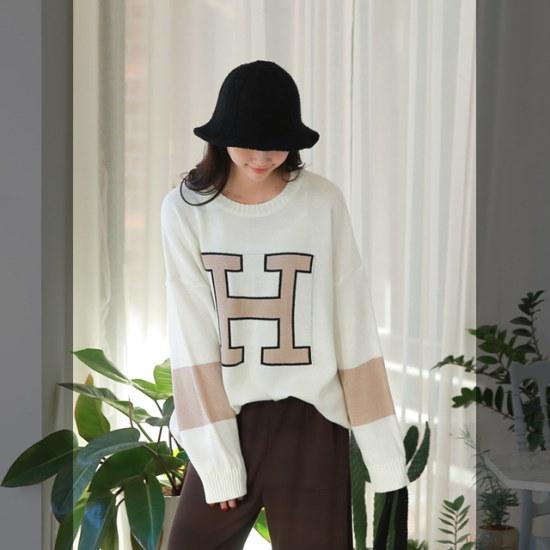 ピンクシスレーエッチ配色ラウンドニット ニット/セーター/ニット/韓国ファッション