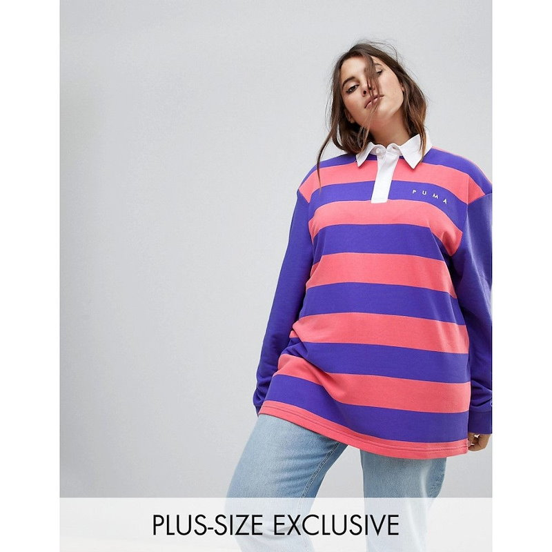 プーマ レディース トップス【Puma Exclusive To ASOS Plus Striped Rugby Jersey】Multi