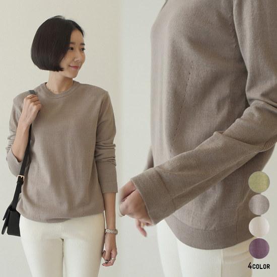 [CANMART]ポップアップラウンドニット★韓国ファッション★ C101684 柔らかい素材感 ラウンドネックライン ふんわり暖かい色味がポイント