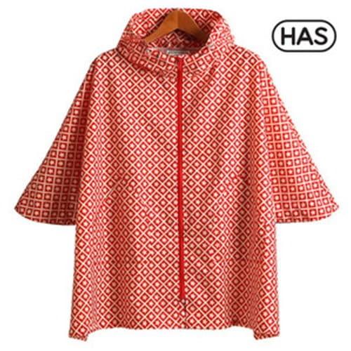 Women Rain Coat Trench Coat Wind Breaker / Heads Star poncho raincoats windshield HRP16-STAR RED 2196468