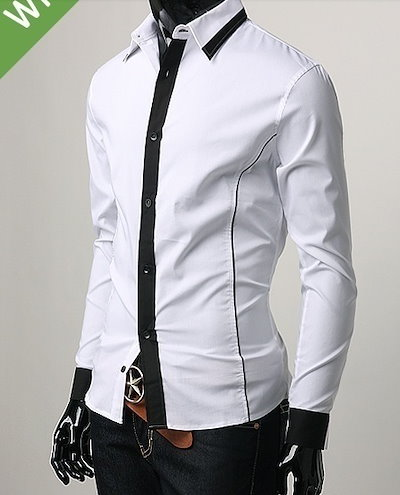 Autumn outfit cotton long-sleeved men s Slim Korean fake tie shirt business casual men s shirts white