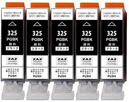 ZAZ BCI-325PGBK ブラック5本セット Canon 互換インク BCI-325BK の顔料タイプ FFPパッケージ(M)