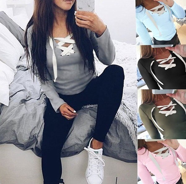 2016   long sleeved T-shirt bottoming women t shirt femme for women
