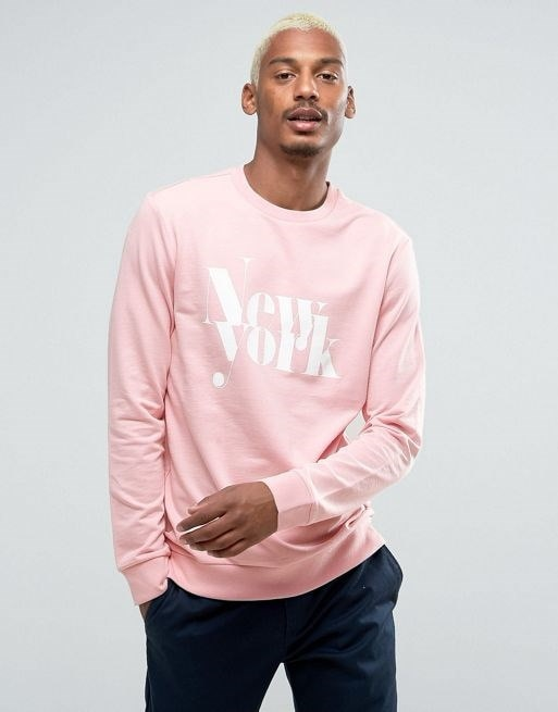 Bershka NY Slogan Sweatshirt In Light Pink