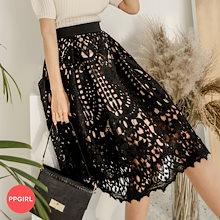 ♥送料 0円★PPGIRL_D624 フェミニン度アップ💕レディライクな雰囲気を演出する上品なウエストゴムレーススカート