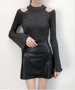 ✨Newタイプついに入荷!韓国ファッション おしゃれな ニット ホーンスリーブ 秋冬物 早い者勝ち タートルネック スリムフィット オフショルダー 高品質 ニットトップス