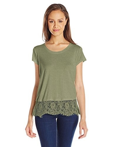 Jolt Womens Short Sleeve Top with Lace Hem, Clover, Large