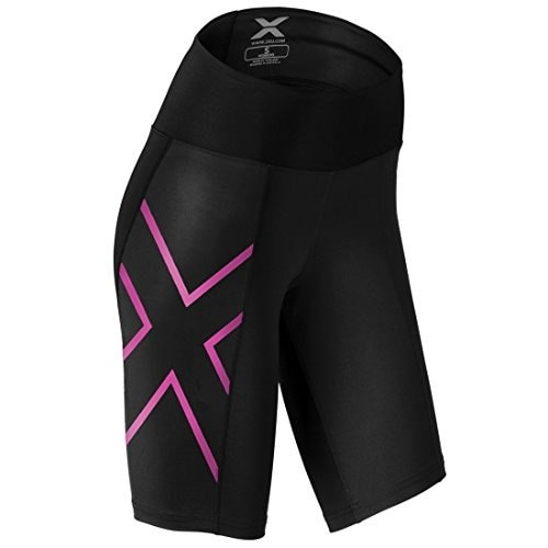 2xu Womens Mid-rise Athletic Compression Shorts, Black/cerise Pink, Medium