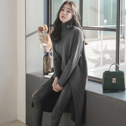 【WhiteFox]開運ポイントハイネックロングニットkorea fashion style free shipping