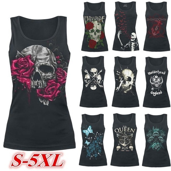 Women Fashion Sleeveless O-neck Skull Printing Casual Loose Black Shirt WZC3864