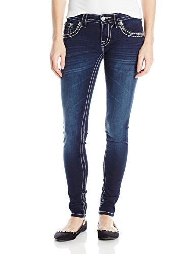 Miss Me Juniors Embellished Border Pocket Contrast Stitch Super Skinny Jean, Dark Wash, 29