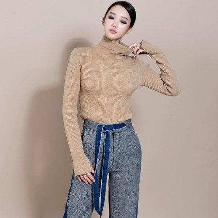 [ディントゥ] E-4258マーブリーひらきポーラニットトップ/ベージュkorea fashion style